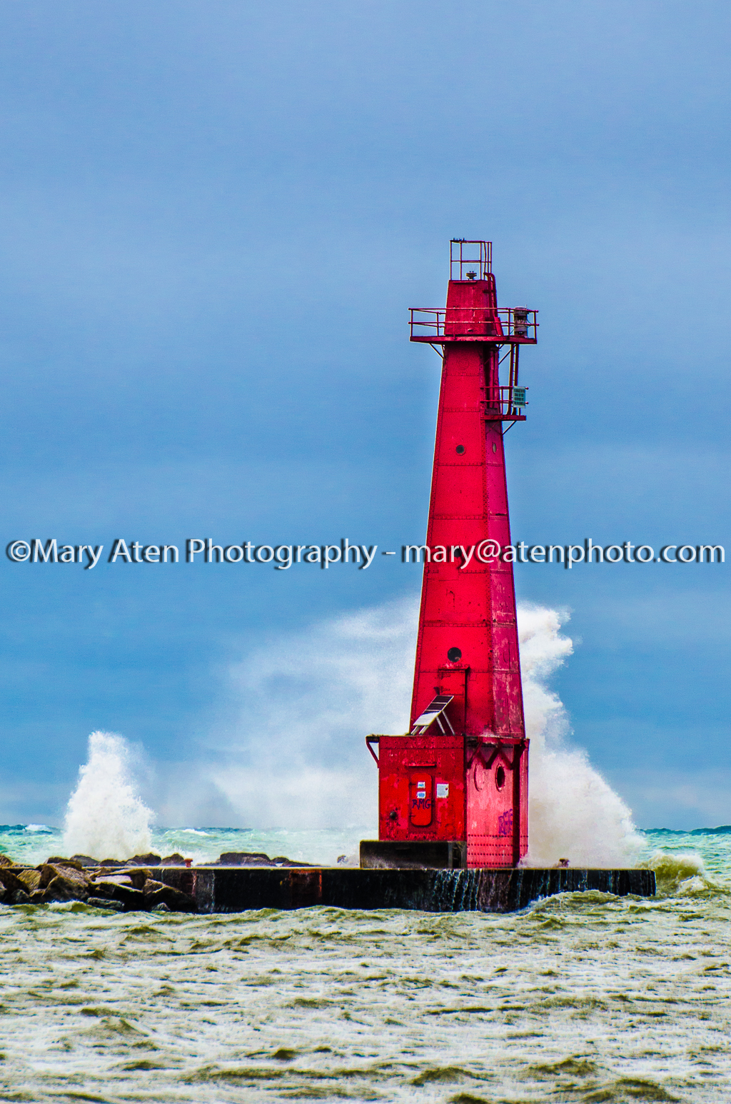 Photo Of Muskegon Lighthouse With Wave Spray Behind Lighthouse