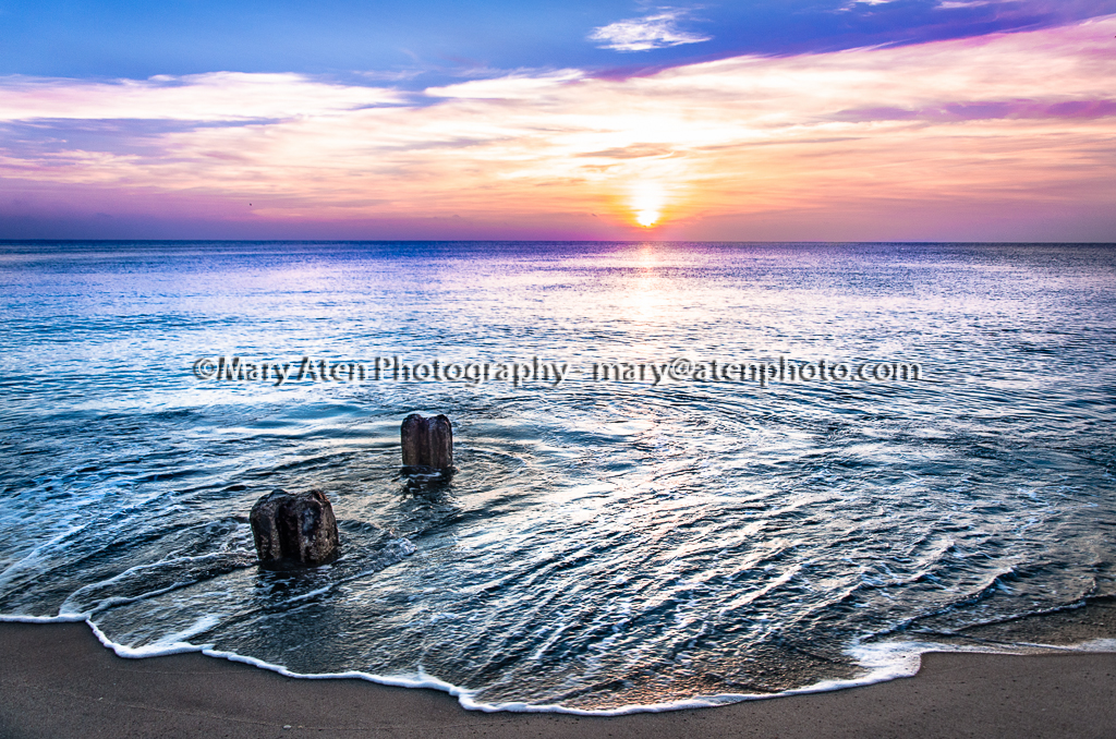 Sunset Photo Sunset With Wave Beach Pilings And