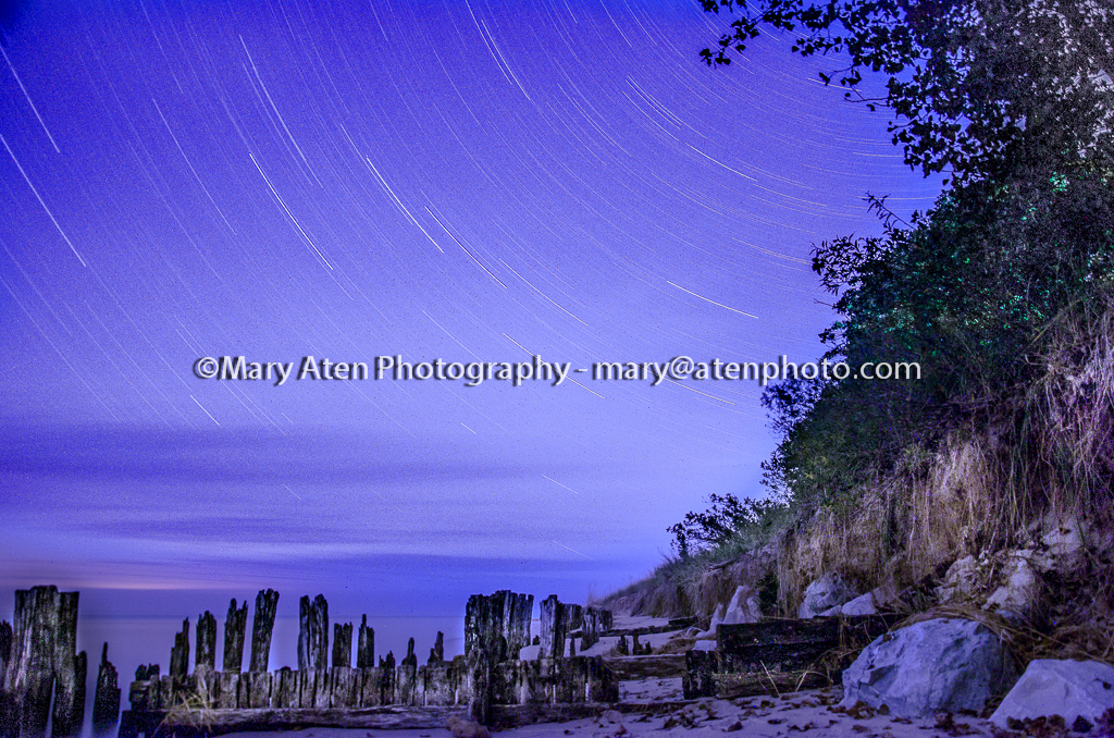 Star Trail Photo With Tree Sand Dune And Jetties In