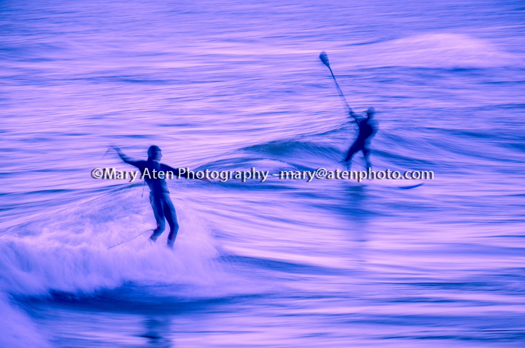 Abstract Surfer Photo Photo Of Surfers After Sunset With