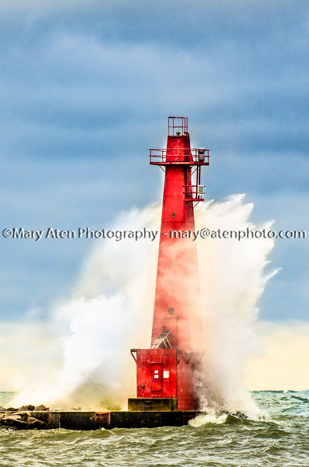 Photo Of Muskegon Lighthouse With Wave Spray Circling